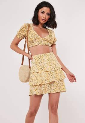 Missguided Yellow Floral Co Ord Ditsy Frill Layer Skirt