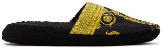 Versace Underwear Black Baroque Slippers