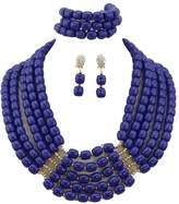 Africanbeads 5-Row Blue Costume African Artificial Coral Beads Jewelry Set Bridesmaid Necklace