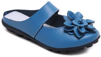 Rumour Has It Women's Mules Blue - Blue Floral Strappy Leather Mule - Women
