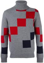Carven colour block roll neck sweater - men - Nylon/Lambs Wool - S