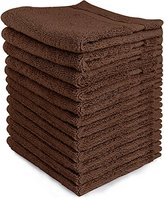 Ringspun Luxury Cotton Washcloths (12-Pack, Dark Brown, 12 x12 inches) - Easy Care, Cotton for Maximum Softness and Absorbency - by Utopia Towels