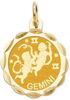 Macy's 14k Gold Charm, Engraveable Gemini Zodiac Disc Charm