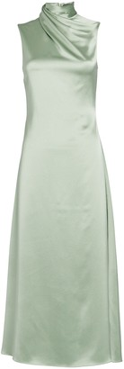 Brandon Maxwell Silk Charmeuse High Neck Dress