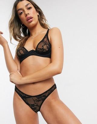 Coco de Mer Sofia stretch sheer lace high apex bra in black