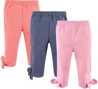 Hudson Baby Girls' Leggings Lt. - Pink, Blue & Coral Knot-Accent Leggings Set - Newborn, Infant, Toddler & Girls