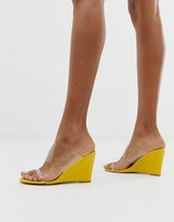 Glamorous bright yellow clear detail wedge sandals
