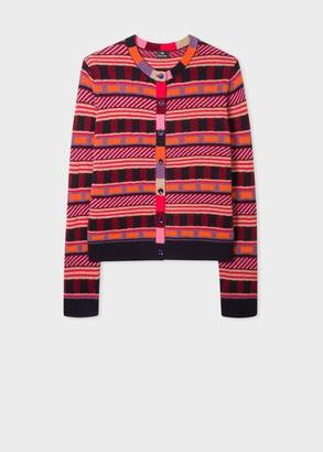 Paul Smith Multi-Coloured Intarsia Geometric Motif Wool-Blend Cardigan - wool | orange pink | Beige / Cream | large - Orange pink