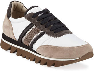 Brunello Cucinelli Leather and Suede Sneakers with Exaggerated Sole