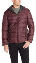Perry Ellis Men's 27 Inch Nylon Quilted Hooded Zip Front
