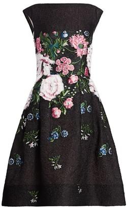 Oscar de la Renta Sleeveless Floral Cocktail Dress