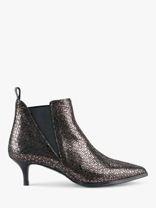 Hush Petworth Kitten Heel Leather Slip-On Ankle Boots, Gunmetal