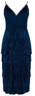 Dorothy Perkins Womens Little Mistress Navy Lace Pleated Midi Dress