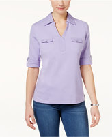 Karen Scott Cotton Utility Polo Top, Only at Macy's