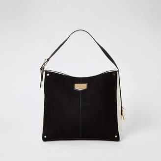River Island Black suedette padlock side slouch bag
