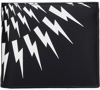 Neil Barrett Thunderbolt Wallet In Black Leather