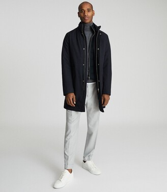 Reiss Bell - Overcoat With Removable Insert in Navy