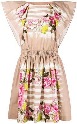 Alberta Ferretti Floral Stripe-Print Short-Sleeved Dress
