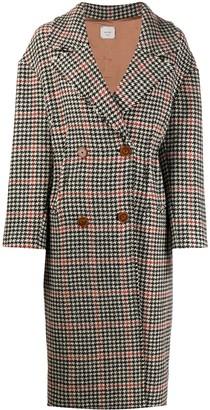 Alysi Check Herringbone Double-Breasted Coat