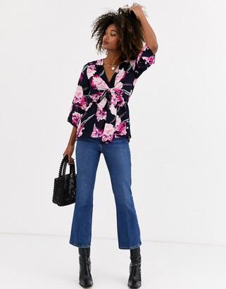 AX Paris tie front blouse in floral