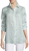 Lafayette 148 New York Brody Sheer-Grid Linen Long-Sleeve Blouse