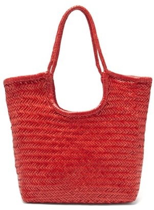 DRAGON DIFFUSION Triple Jump Small Woven-leather Basket Bag - Red