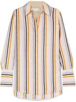 Victoria, Victoria Beckham - Striped Silk-satin Shirt - Beige