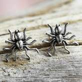 Sterling Silver Stud Earrings Spider Shape from Thailand, 'Little Sun Spiders'