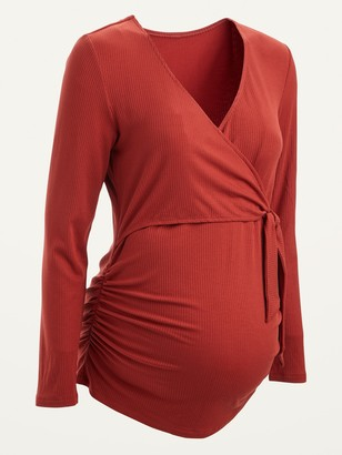 Old Navy Maternity Rib-Knit Tie-Front V-Neck Top