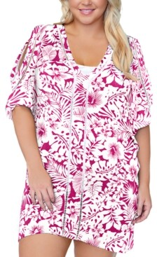 Thumbnail for your product : Raisins Curve Trendy Plus Size Making Waves Tranquilo Caftan Cover-Up Women's Swimsuit