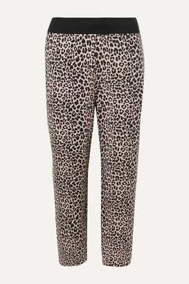 Varley Catherine Cropped Leopard-print Stretch Modal And Cotton-blend Track Pants - Leopard print