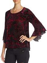 Cupio Burnout Velvet Bell-Sleeve Top