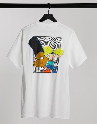 New Look oversized t-shirt with hey arnold print in white