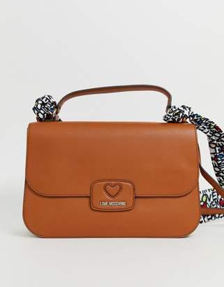 Love Moschino calf flapover shoulder bag in brown-Tan