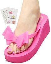 Donalworld Women Summer Beach Bow T Strap Flip Flops High Heel Sandals