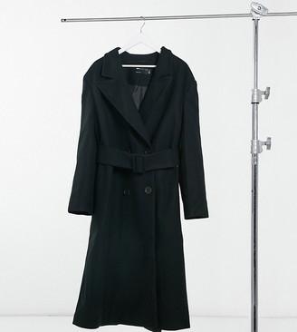 ASOS DESIGN Curve belted maxi coat in black