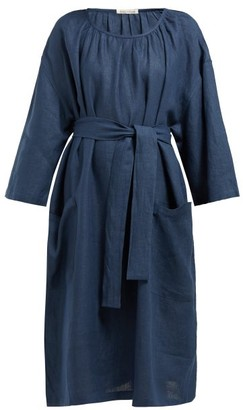 Denis Colomb Tie-waist Linen Dress - Womens - Navy
