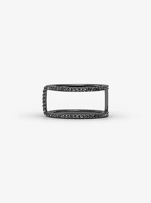 Michael Kors Black Rhodium-Plated Sterling Silver Pave Ring Jacket