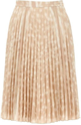 Burberry Deer Print Pleated Midi Skirt