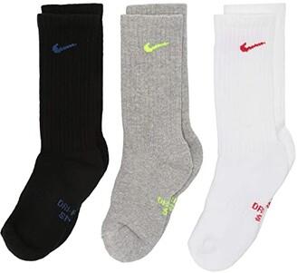 Nike Performance Cushioned Dri-Fit Crew Training Socks 6-Pair Pack (Little Kid/Big Kid) (Multicolor) Kids Shoes
