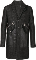DSQUARED2 single breasted coat - men - Cotton/Calf Leather/Polyester/Wool - 50