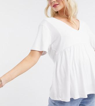 Asos Maternity   Nursing ASOS DESIGN Maternity nursing double layer v neck smock top in white