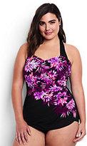 Classic Women's Plus Size DDD-Cup Slender Tunic One Piece Swimsuit-Black Mum Cascade