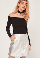 Missguided Black Bardot Ribbed Trim Basic Cropped Sweater