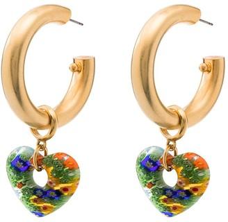 Brinker & Eliza Lolita flower heart hoop earrings