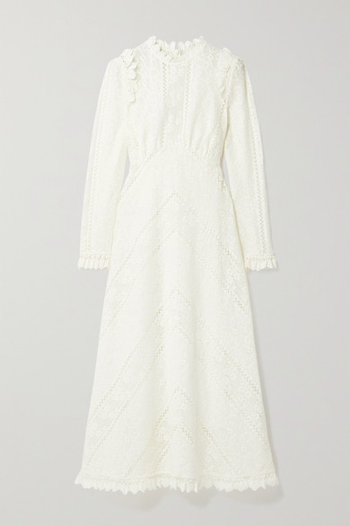 Zimmermann Brighton Paneled Cotton-blend Lace Midi Dress - Ivory