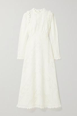 Zimmermann Brighton Paneled Cotton-blend Lace Midi Dress - Ivory