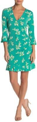 BCBGeneration Floral Ruffle Trim Mini Dress
