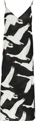 Desmond & Dempsey Cygnus Swan print cotton slip dress