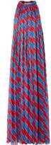 Philosophy di Lorenzo Serafini Pleated Striped Silk-chiffon Halterneck Gown - Red